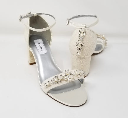 ivory block heel bridal shoes