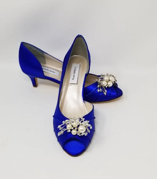 blue kitten heel wedding shoes