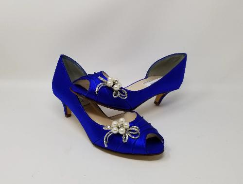 blue peep toe shoes