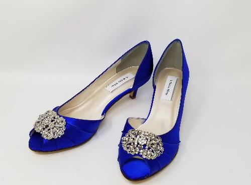 Royal Blue Wedding Shoes with Vintage Design