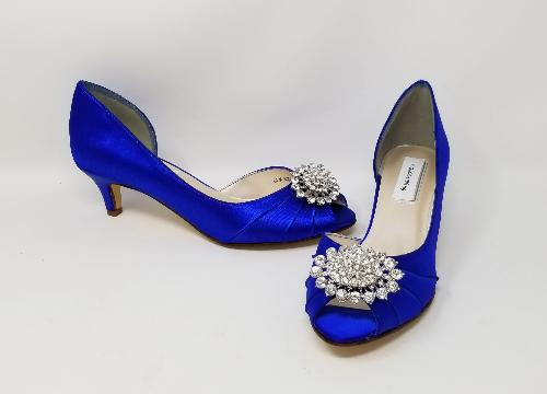 Royal Blue Wedding Shoes with Crystal Oval
