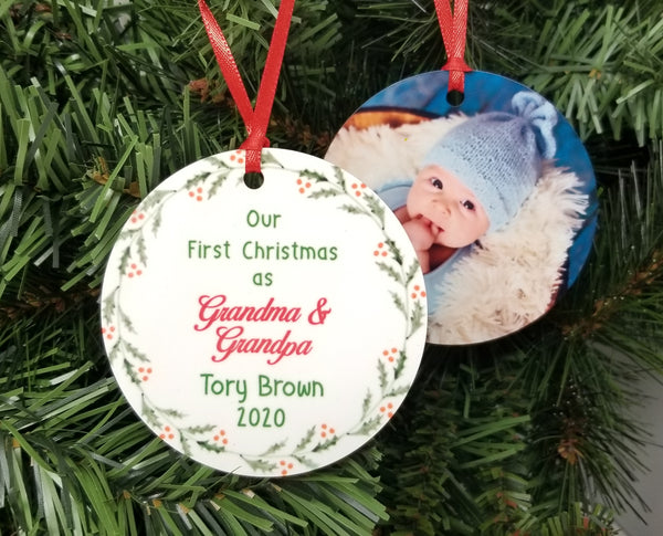 grandma and grandpa photo ornament