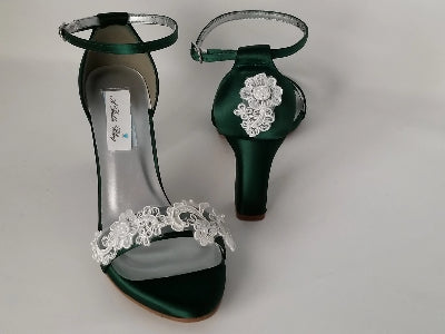 Hunter Green Wedding Shoes with Block Heel Lace Design