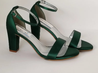 hunter green block heels