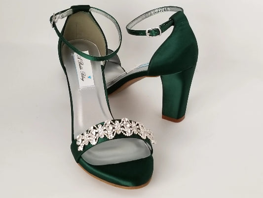 green bridal shoes with block heel