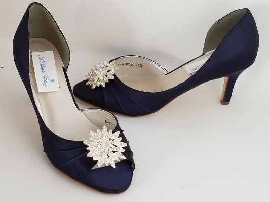 navy bridal shoes crystal front