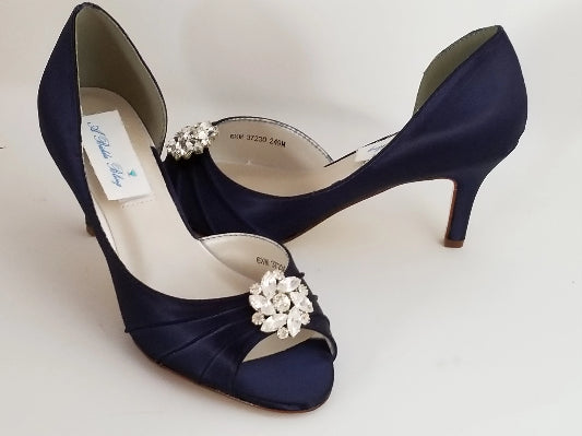 Navy Blue Bridal Shoes with Crystal Detail