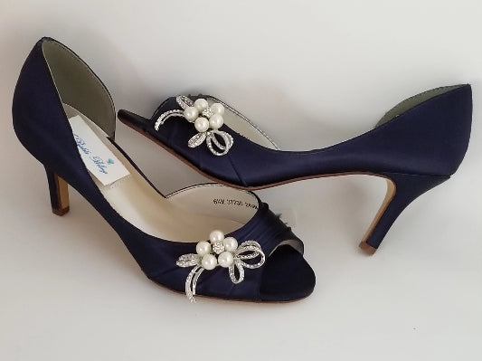 Navy Blue Wedding Shoes with Crystal and Pearl Bow
