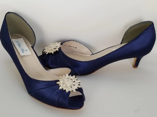 navy blue kitten heels
