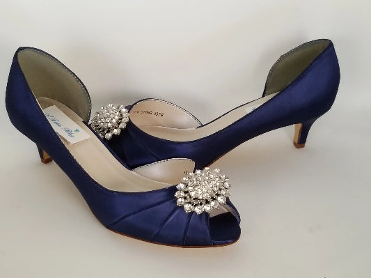 Navy Blue Bridal Shoes with Crystal Oval Design