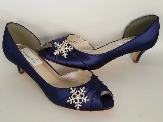navy bridal shoes with crystal snowflake