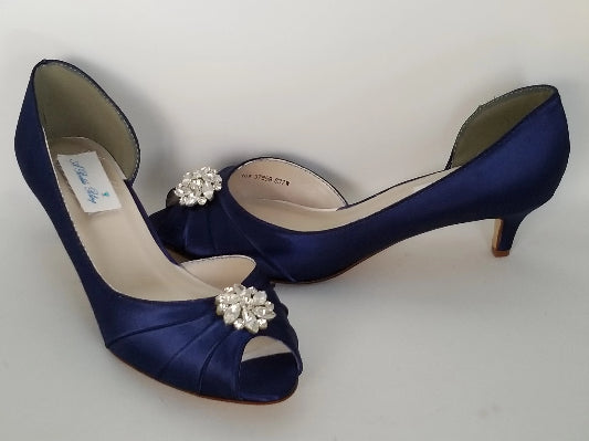 navy kitten heels with crystals