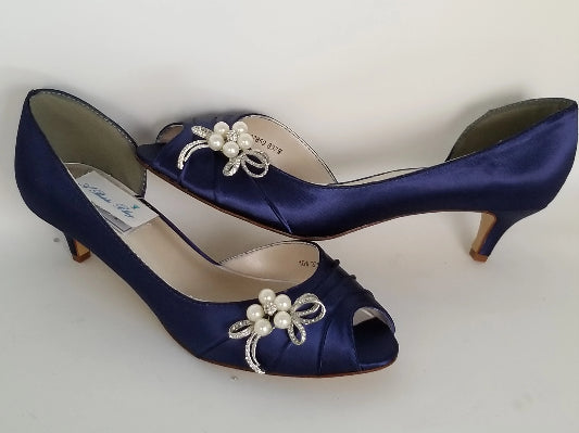 navy kitten heels with pearls and crystals