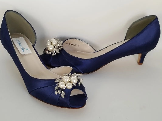 navy bridal shoes pearls and crystals