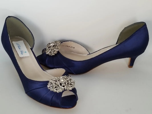 navy bridal shoes vintage design
