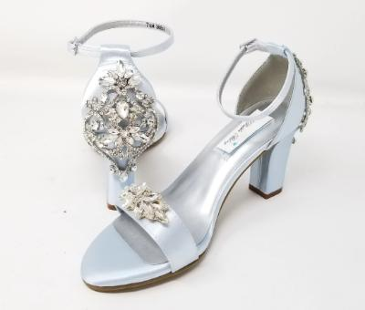 Blue Wedding Shoes with Block Heel and