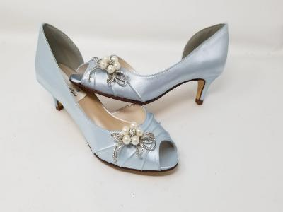 blue wedding shoes bow design
