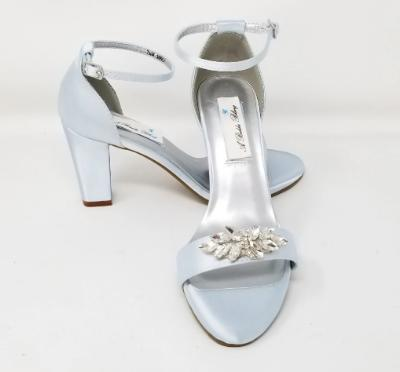 Blue Bridal Shoes with Chunky Heel and