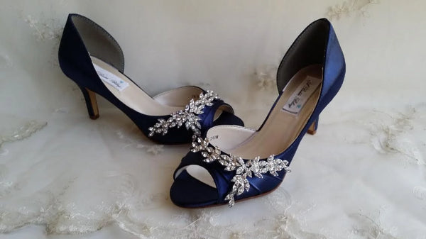 navy wedding shoes with crystals