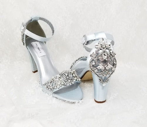 blue block heel bridal shoes
