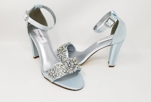 blue wedding shoes block heel