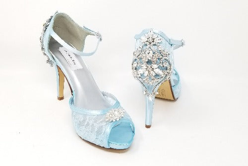 blue lace wedding shoes