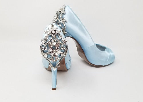 blue wedding shoes with crystals