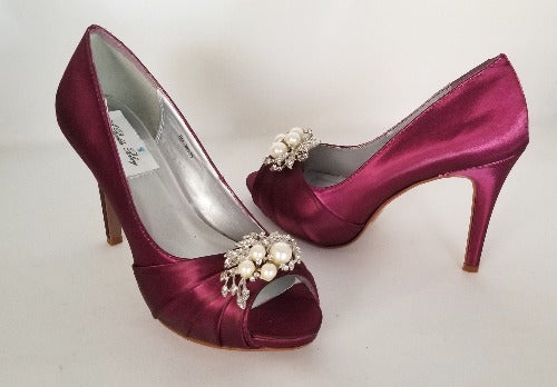 burgundy bridal shoes with pearls and crystals