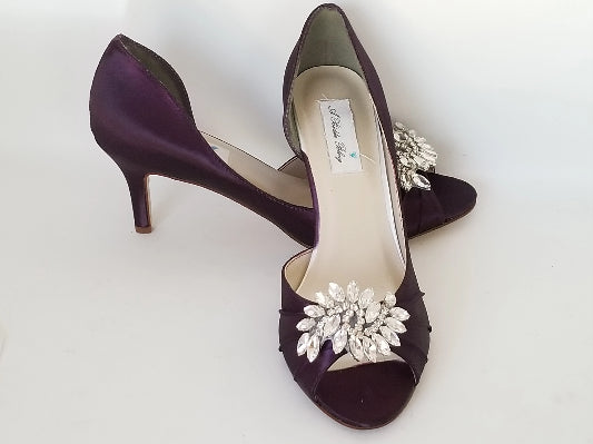 purple bridal heels with crystal applique