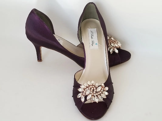 eggplant bridal shoes with rose gold applique