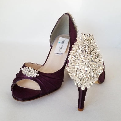 Purple wedding shoes full of crystals