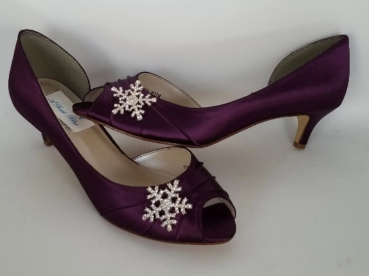 purple bridal shoes with crystal snowflake