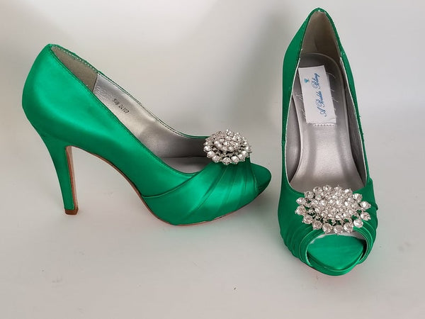 Emerald Green Wedding Shoes with Crystal Oval Design