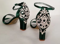 green bridal shoes with crystal heel