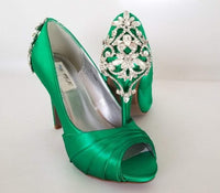 green bridal shoes with crystals