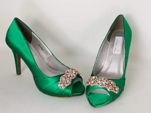 green wedding shoes rose gold design