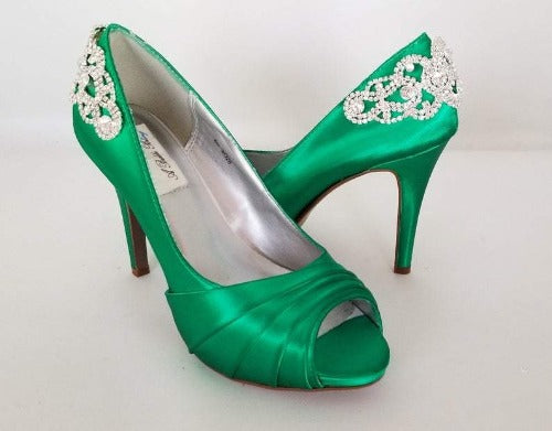 emerald green bridal shoes with crystal bling