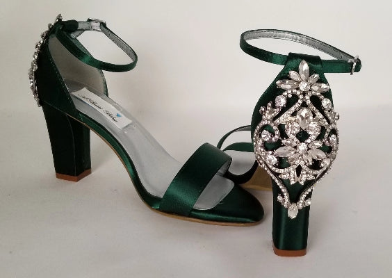 green wedding shoes with crystals