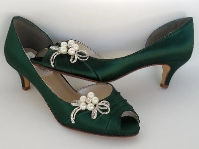 green bridal shoes with bow