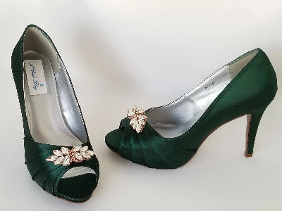 green shoes with rose gold