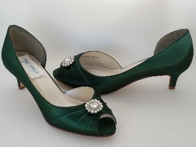 green low heel shoes