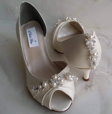 Ivory Wedding Shoes Pearls and Crystals
