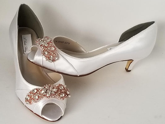 White Wedding Shoes Rose Gold Heels