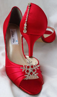 Red Bridal Shoes with Crystal Snowflake