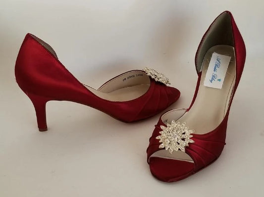 red wedding shoes with crystals