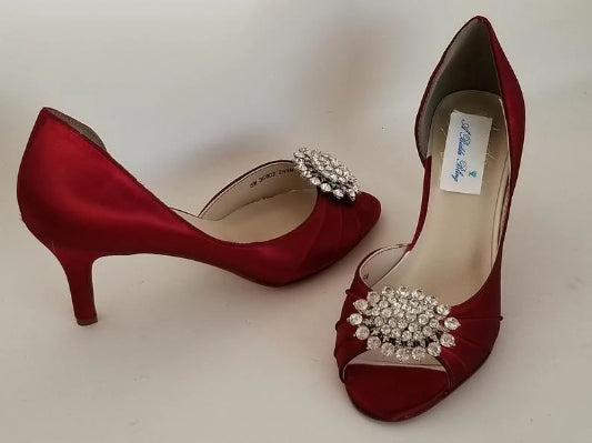 Red Bridal Shoes with Crystal Oval Design