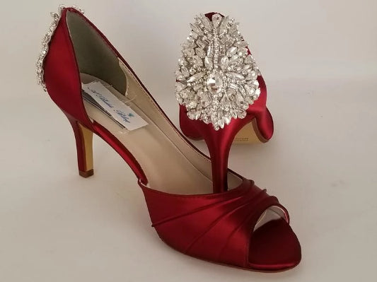 red bridal shoes with crystal heel