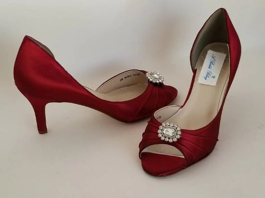 Red Wedding Shoes with Crystal Brooch