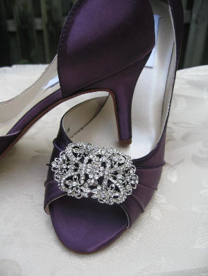 purple wedding shoes with vintage design