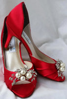 Red Bridal Shoes with pearls and crystals